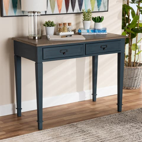 French Provincial Spruce Blue Accent Writing Desk