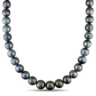Miadora 14k White Gold Tahitian Cultured Pearl Strand Necklace with Diamond Ball Clasp (11-14 mm)