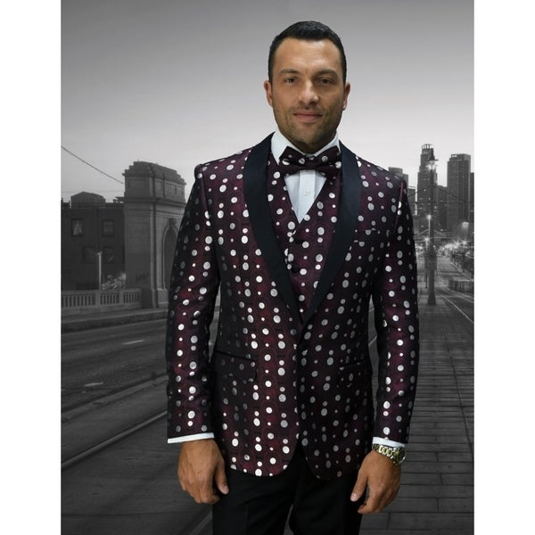 Statement Bellagio13 Burgundy txedo with matching bow tie