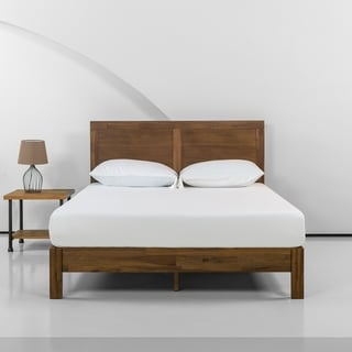 Priage by Zinus 12 Inch Acacia Wood Platform Bed with Headboard