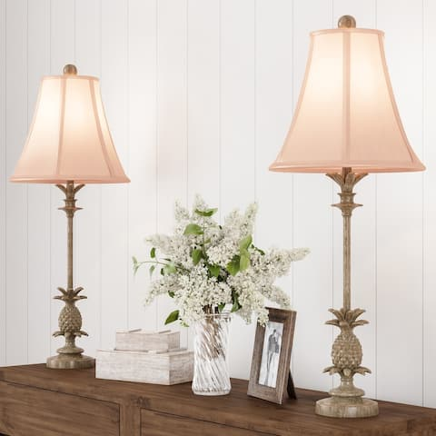 Pineapple Buffet Lamps with Hexagon Shades-Set of 2 Matching Table Lamps-Vintage Inspired Retro Design by Lavish Home