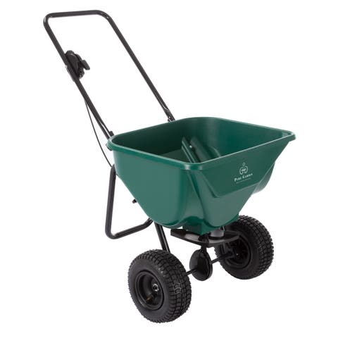 Lawn and Garden Spreader - 66 Pound Capacity Rotary Broadcast Dispenser for Fertilizer, Grass Seed, Sand and Salt by Pure Garden