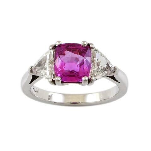 Platinum 2.35CT Radiant Pink Sapphire Vintage Engagement Ring Size - 6