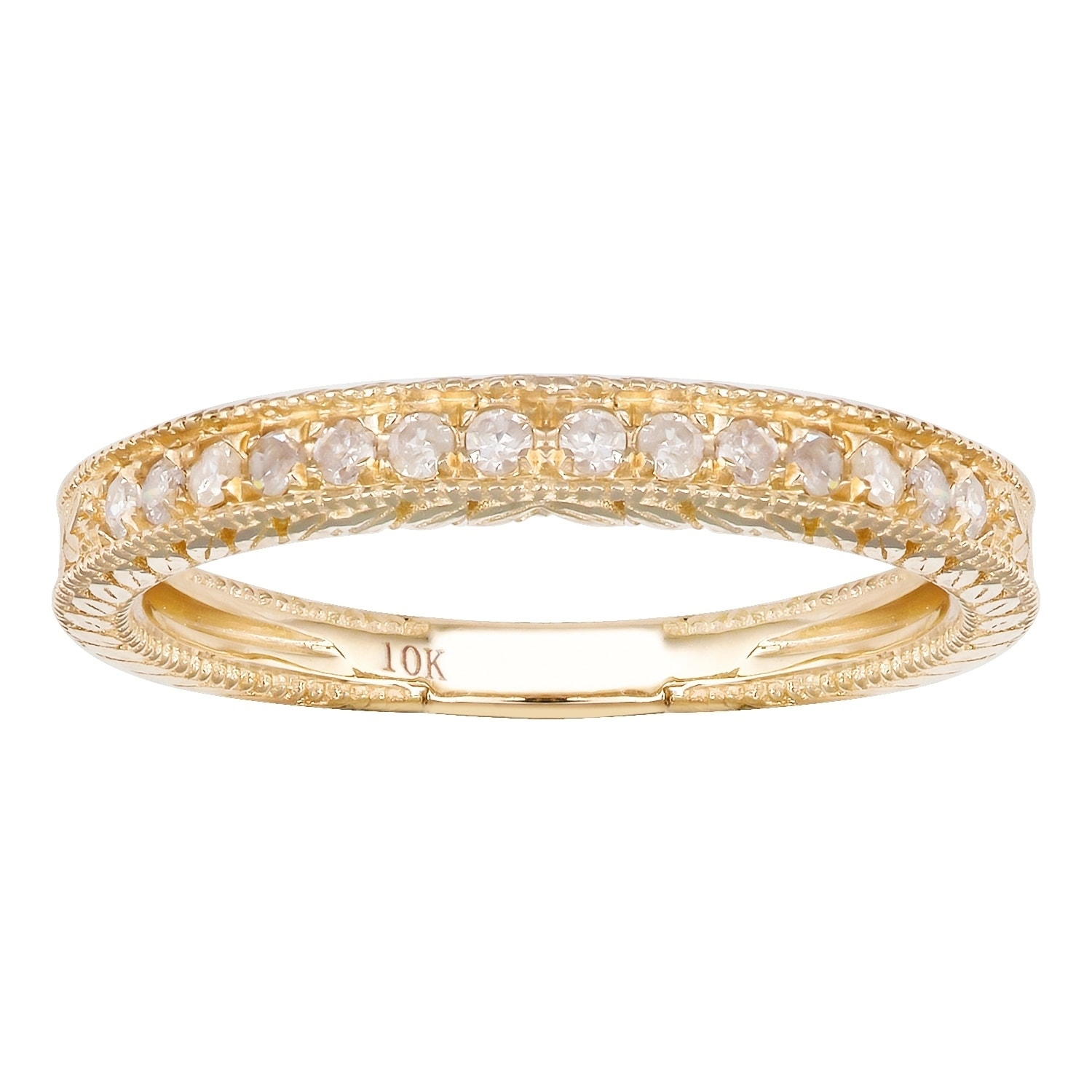 Size-8 Diamond Wedding Band in 14K Pink Gold 1//8 cttw, G-H,I2-I3