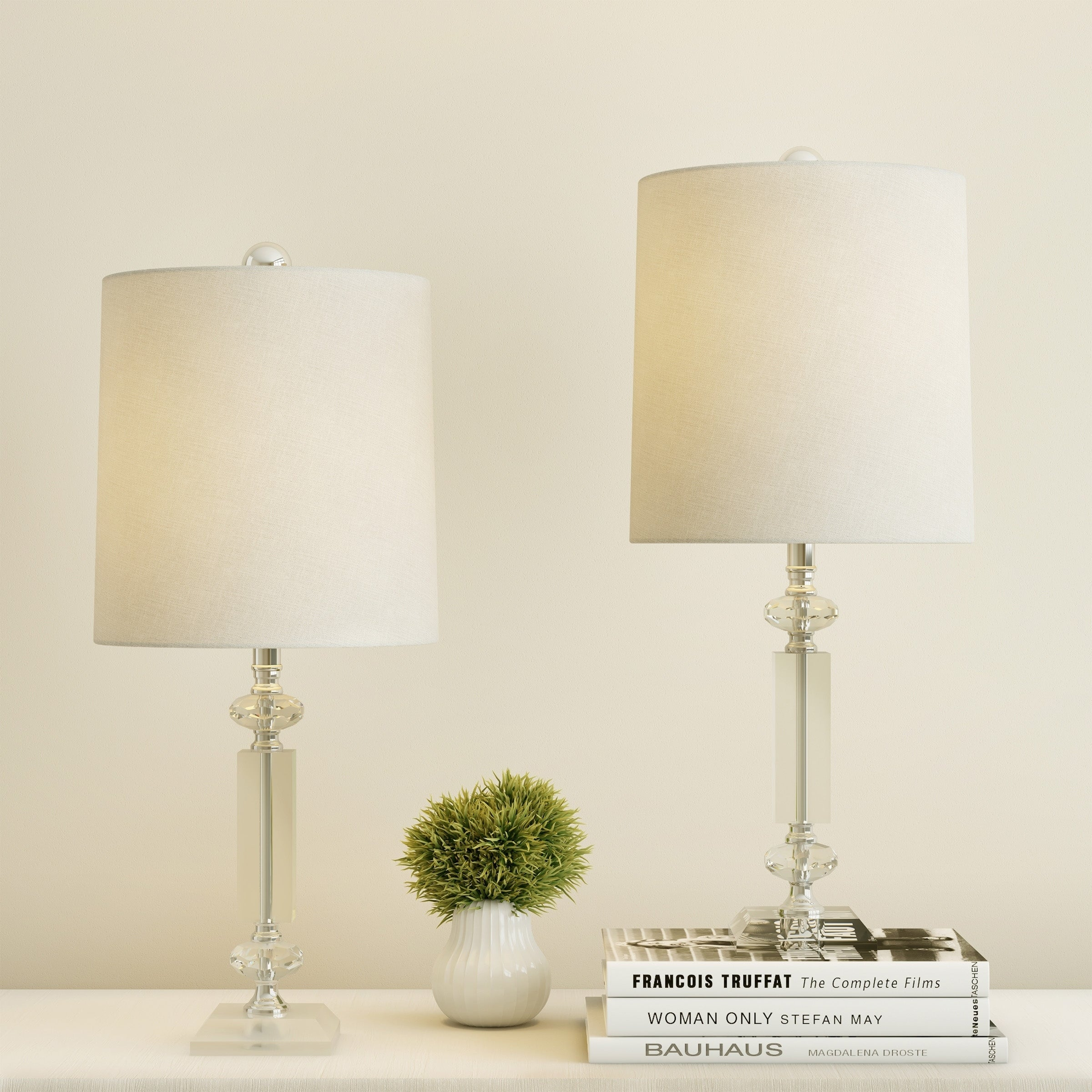 Crystal Column Lamps With Shades Set