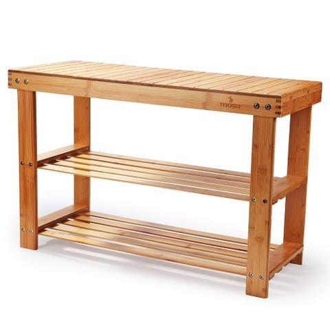 Mosa Natural Bamboo Entryway Hallway Wood Bench Wooden Shoe Rack for Bedroom
