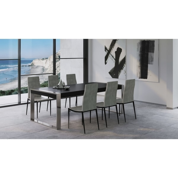 Shop Luxurious Modern Design Stainless Steel Dining Set: Shop B-Modern Savant Modern Matte Black & Stainless Steel