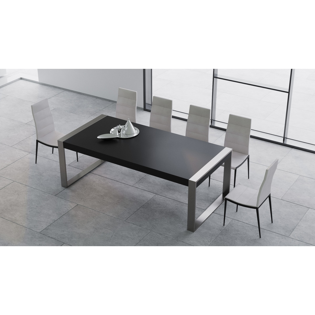 Shop B Modern Savant Modern Matte Black Stainless Steel Dining Table 90 5 W X 41 25 D X 29 5 H Overstock 26414924