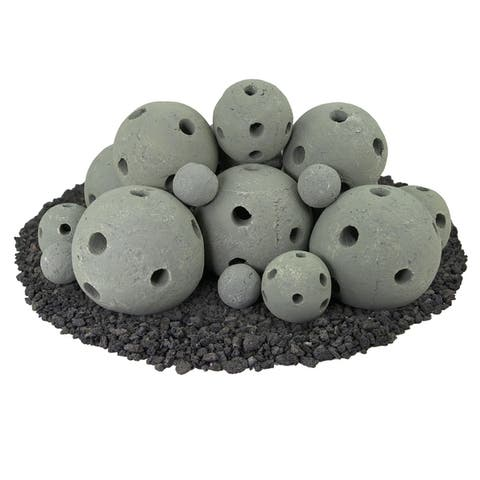 Hollow Ceramic Fire Balls Mixed Set of 23 Modern Accessory for Fire Pits or Fireplaces Brushed Concrete Look Pewter Gray