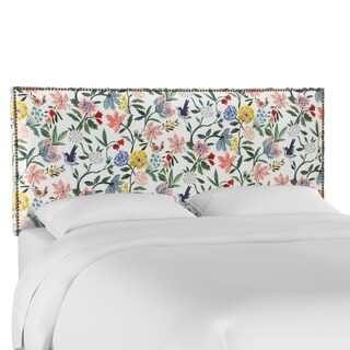 Skyline Furniture Nail Button Border Headboard in Cari Garden Rose