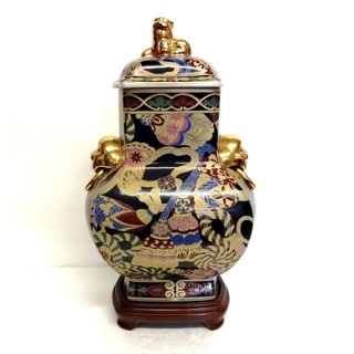 Multi Color Tassel Design Cover Jar w/ Foo Dogs and Woodstand