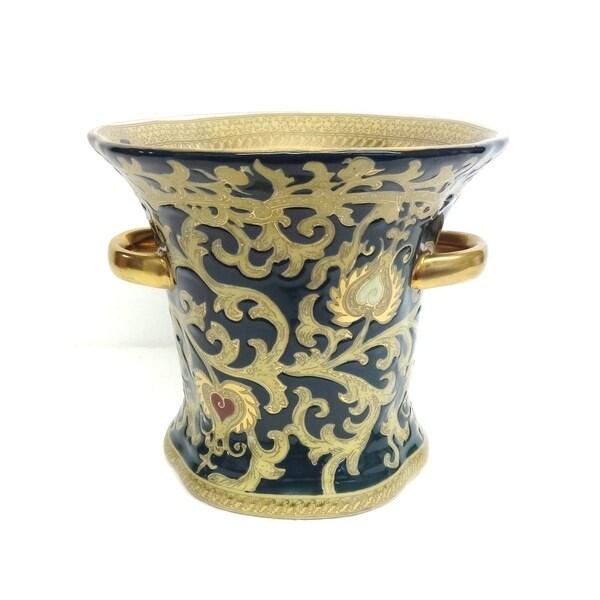 Green & Gold Scroll Porcelain Ring Vase w/ Handles