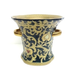 Green & Gold Scroll Porcelain Ring Vase w/ Handles