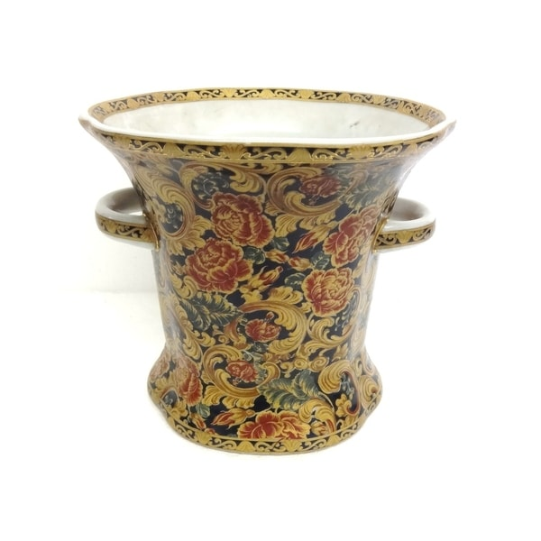 Autumn Rose Porcleian Ring Vase w/ Handles