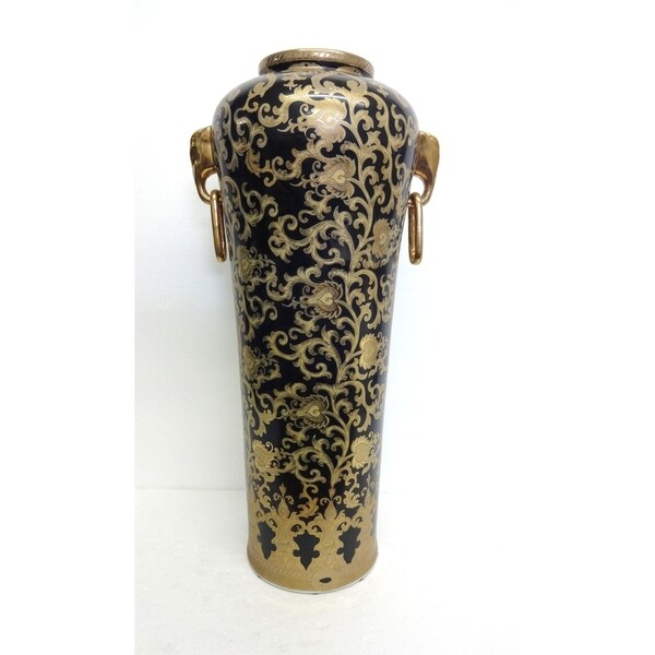 Black & Gold Tapestry Porcelain Elephant Ring Vase