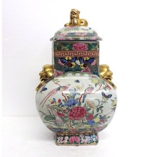 Rose Medallion Cover Jar w/ Foo Dogs