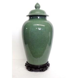 Celadon Crackle Temple Jar w/ Lotus Woodstand