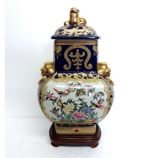 Blue & Gold Scroll Cover Jar w/ Foo Dogs and Woodstand