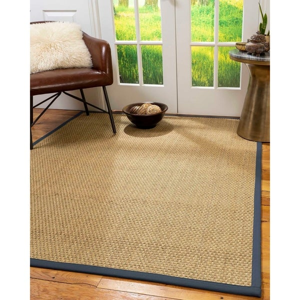 Shop Natural Area Rugs Marine Border Natural Seagrass Fiber Handmade