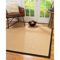 Natural Area Rugs 100%, Natural Fiber Handmade Basket Weave Carlton, Gold Sisal Rug, Black Border - 12' x 18'