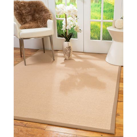 Natural Area Rugs 100%, Natural Fiber Handmade Chelsea, Beige Wool/Sisal Rug, Wheat Border - 2' x 3'