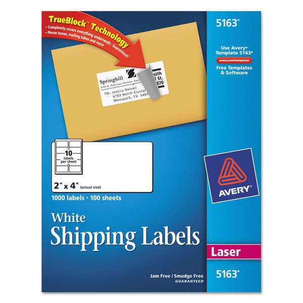 shop avery dennison 5163 address labels box of 1000 free