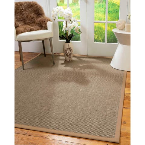 "Natural Area Rugs 100%, Natural Fiber Handmade Dalton, Grey Sisal Rug, Wheat Border - 2'6"" x 10'"
