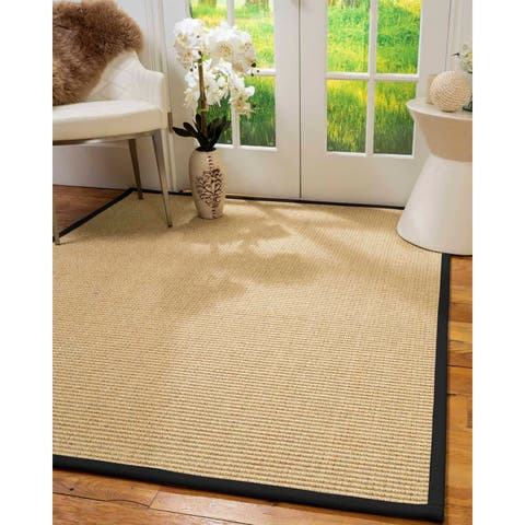 "Natural Area Rugs 100%, Natural Fiber Handmade Chunky Lucca, Beige Sisal Rug, Black Border - 2'9"" x 9'"
