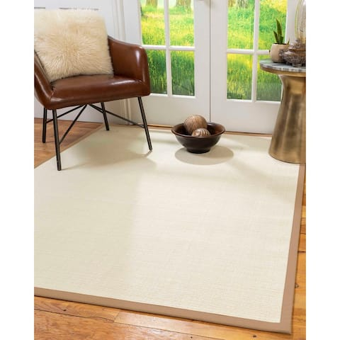 Natural Area Rugs 100%, Natural Fiber Handmade Icon, White Wool/Sisal Rug, Wheat Border - 6' x 9'