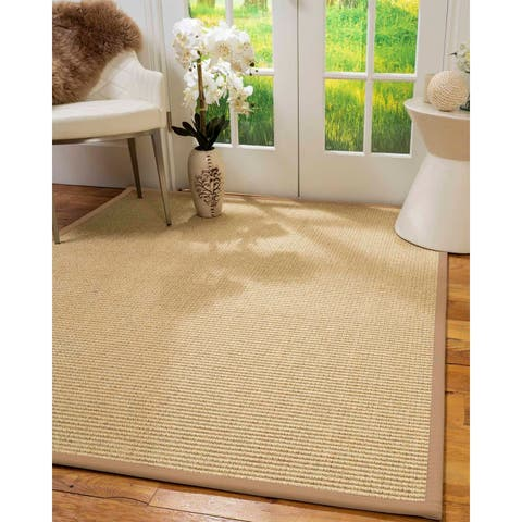 "Natural Area Rugs 100%, Natural Fiber Handmade Chunky Lucca, Beige Sisal Rug, Wheat Border - 2'6"" x 10'"