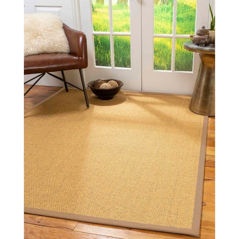 "Natural Area Rugs 100%, Natural Fiber Handmade Niagara, Gold/Multi Sisal Rug, Wheat Border - 2'6"" x 10'"
