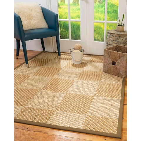 "Natural Area Rugs 100%, Natural Fiber Handmade Chunky Nirvana, Bronze/Beige Sisal Rug, Squirrel Border - 2'6"" x 10'"