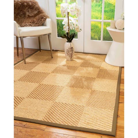 "Natural Area Rugs 100%, Natural Fiber Handmade Osaka, Bronze/Gold Sisal Rug, Squirrel Border - 2'6"" x 10'"