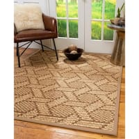 Natural Area Rugs 100%, Natural Fiber Handmade Chunky Seattle, Brown/Multi Sisal Rug, Wheat Border - 8' x 10'
