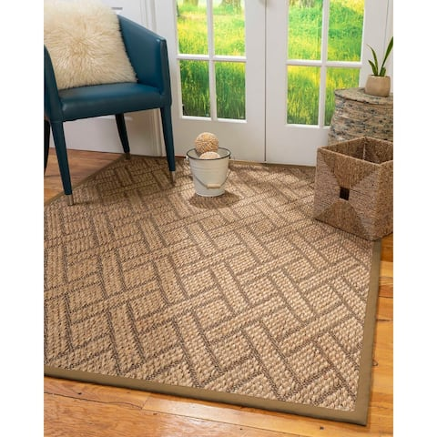 "Natural Area Rugs 100%, Natural Fiber Handmade Chunky Shanghai, Brown/Multi Sisal Rug, Squirrel Border - 2'6"" x 10'"