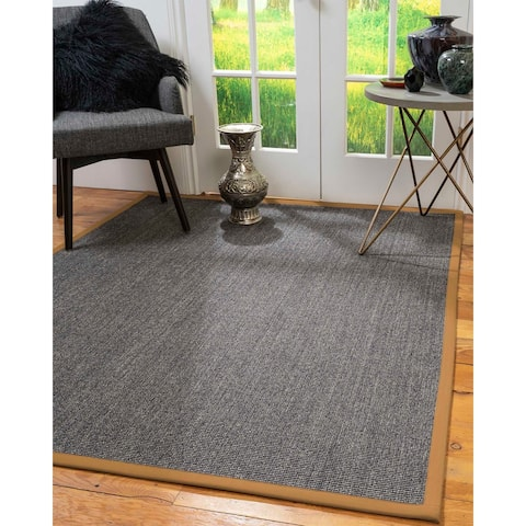 "Natural Area Rugs 100%, Natural Fiber Handmade Shadows, Greyish Blue Sisal Rug, Doe Border - 2'6"" x 10'"