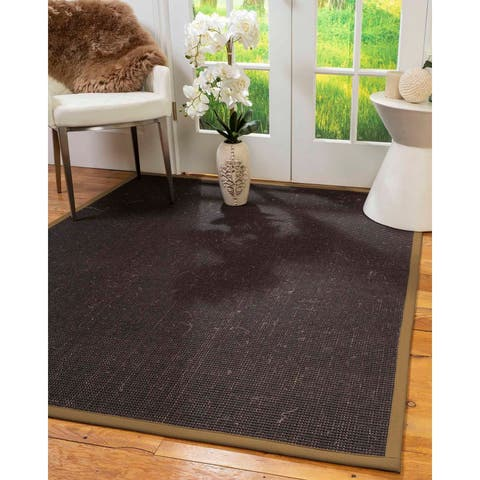 "Natural Area Rugs 100%, Natural Fiber Handmade Vida, Black Wool/Sisal Rug, Squirrel Border - 2'6"" x 10'"