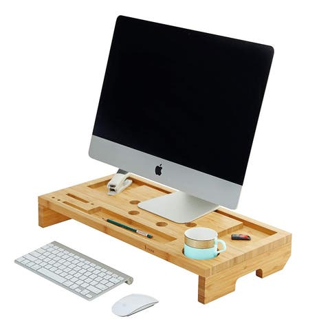 Mosa Natural Bamboo Monitor Stand with 2 Drawers Storage Organizer
