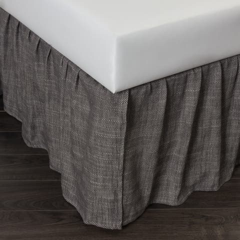 Cottage Home Lennord Charcoal Cotton 3 Piece Tuck in Bed Skirt