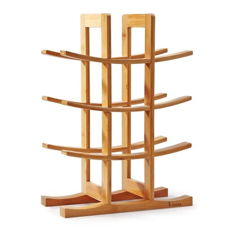 Mosa Natural Bamboo 12 Bottle Wine Rack Wine Rack Countertop Wooden Wine Storage