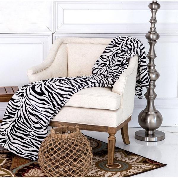 Ultra Soft Micro Plush Flannel Bed Zebra Skin Print Blanket
