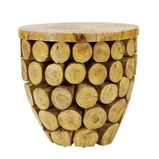 Carbon Loft Gigante Solid Natural Teak Wood Round Deco Table