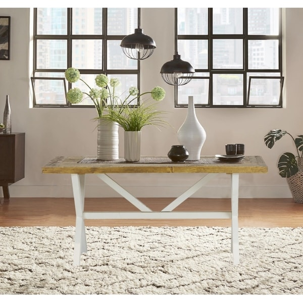 Highland Distressed White Solid Reclaimed Wood End Table