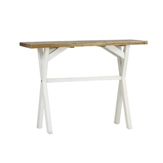 Highland Distressed White Solid Reclaimed Wood Console Table