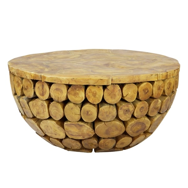Carbon Loft Gigante Solid Natural Teak Wood Round Deco Coffee Table