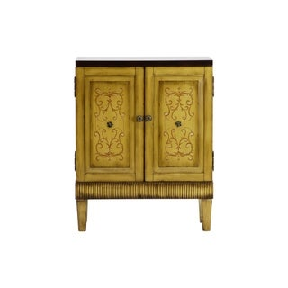 Callie Hand Painted Natural Wooden Accent Cabinet
