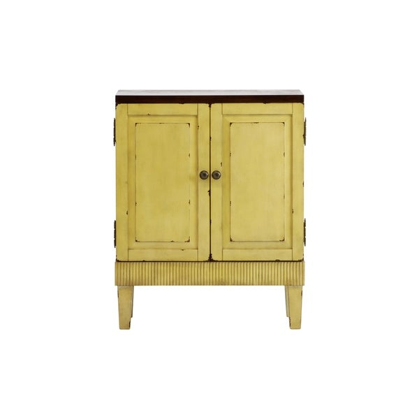 Callie Hand Painted Distressed Ivory Wooden Accent Cabinet