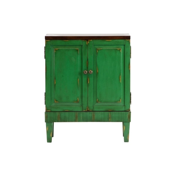 Accent Cabinet In Front Of Green Wall: Shop Callie Hand Painted Distressed Green Wooden Accent