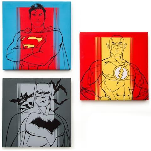 DC Comics Justice League 3-Piece Canvas Wall Art Set, 14 x 14 x 1.5