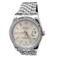 Pre-owned 34mm Rolex Stainless Steel Oyster Perpetual Datejust Watch with Silver Dial - N/A